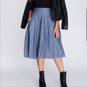 Lane Bryant chambray midi skirt